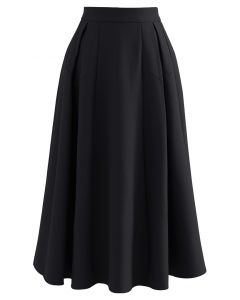 Functional A-Line Pleated Midi Skirt in Black