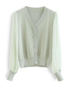 Sheer Sleeve Pearly Buttoned Knit Top in Mint
