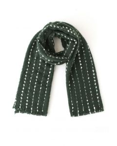 Dotted Fringed Fluffy Scarf in Green