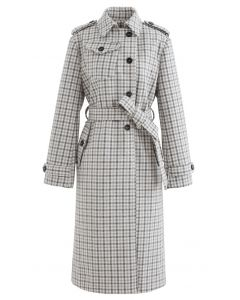 Wool-Blend Check Buttoned Longline Coat