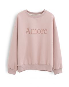 Amore Printed Fleece Sweatshirt in Pink