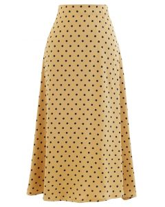 Polka Dots Midi Slip Skirt in Gold