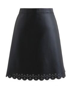 Faux Leather Cutwork Mini Skirt in Black