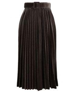 Belted Velvet Full Pleated Midi Skirt in Brown
