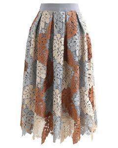 Multi-Color Leaves Crochet Pleated Midi Skirt
