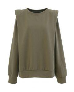 Padded Shoulder Long Sleeves Sweatshirt in Olive