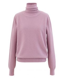 Turtleneck Soft Touch Ribbed Knit Sweater in Lilac