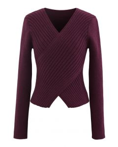 Crisscross Fitted Rib Knit Top in Wine