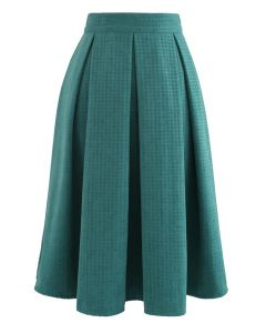 Box Pleated Houndstooth Midi Skirt in Teal