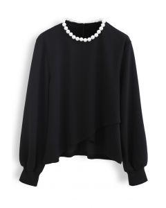 Pearly Neck Cross Wrap Hem Pullover in Black