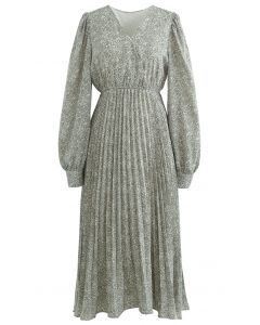 Graceful Floret Wrap Pleated Dress in Olive
