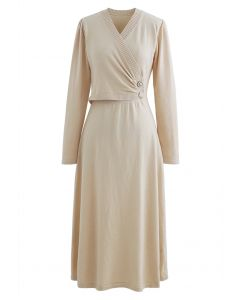 Pearl Button Wrap Knit Midi Dress in Cream