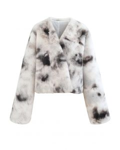 Cozy Tie Dye Faux Fur Crop Jacket