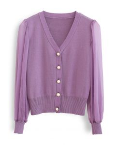 Button Down V-Neck Sheer Sleeves Knit Top in Lilac