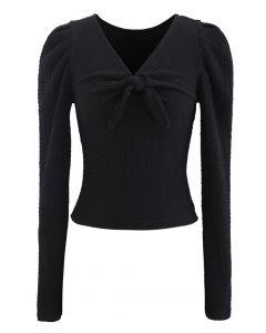 Knot Puff Sleeves Elastic Crop Top in Black
