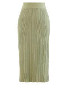 Slit Back Rib-Knit Pencil Skirt in Moss Green