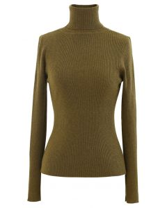 Turtleneck Ribbed Fitted Knit Top in Olive