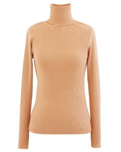 Turtleneck Ribbed Fitted Knit Top in Apricot
