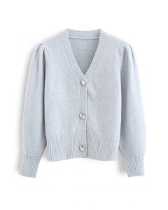 Heart Button Puff Sleeves Knit Cardigan in Baby Blue