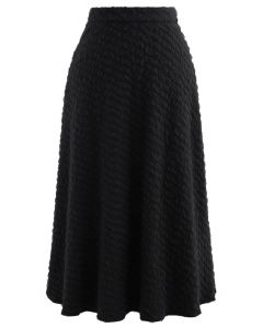 Embossed Mesh Flare Midi Skirt in Black