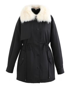 Faux Fur Collar Short Parka in Black