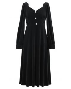 Sweetheart Neck Buttoned Velvet Dress in Black