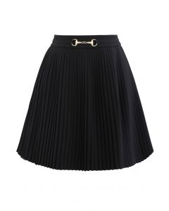 Horsebit Trims Pleated Mini Skirt in Black