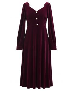 Sweetheart Neck Buttoned Velvet Dress in Wine