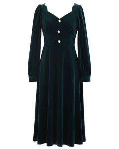 Sweetheart Neck Buttoned Velvet Dress in Emerald