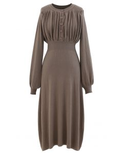 Ruched Buttoned Front Soft Knit Dress in Taupe