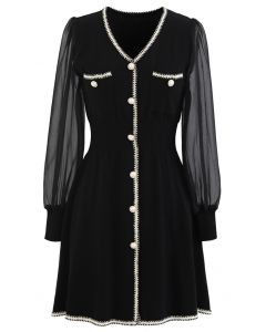 Sheer-Sleeve V-Neck Buttoned Knit Dress in Black