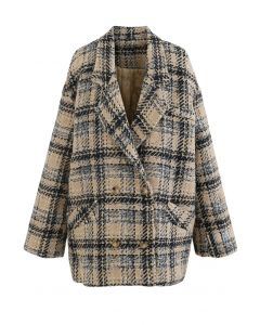 Contrasted Color Double-Breasted Tweed Coat in Mustard