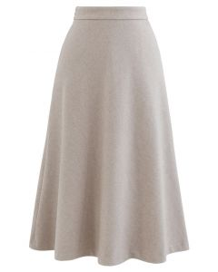 High Waist Basic Seamed Midi Skirt in Linen