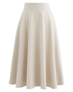 High Waist A-Line Flare Midi Skirt in Cream