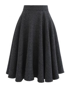 Polka Dots Wool-Blend Flare Skirt