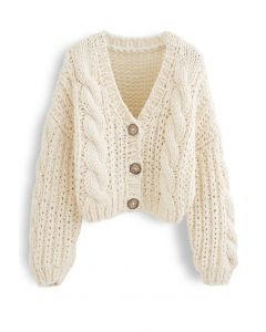 V-Neck Crop Hand-Knit Chunky Cardigan in Cream