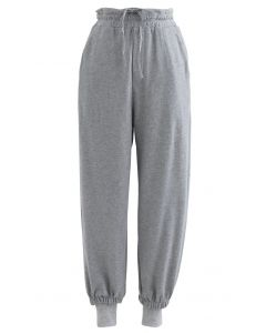 Cuffed Hem Drawstring Pockets Joggers in Grey