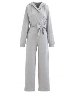 Wrap Bowknot Hoodie and Straight Leg Pants Set in Grey