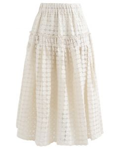 Full Circle Embroidered Organza Midi Skirt in Cream