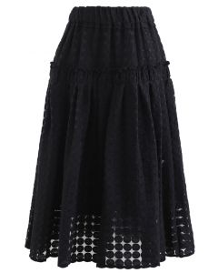 Full Circle Embroidered Organza Midi Skirt in Black