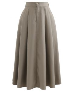 Button Pocket Pleated Flare Midi Skirt