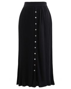 Button Front Pleated Ribbed Knit Skirt in Black
