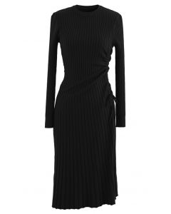 Side Drawstring Ribbed Knit Midi Dress in Black