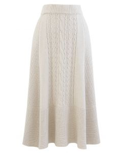 Braid Texture Soft Knit A-Line Midi Skirt in Cream