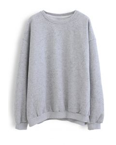 Spotted Fleece Sweatshirt in Grey