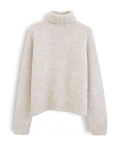 Chic Turtleneck Fuzzy Knit Sweater in Linen