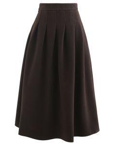 Pleated Wool-Blend Midi Skirt in Brown