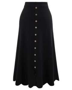 Scrolled Hem Button Knit Midi Skirt in Black