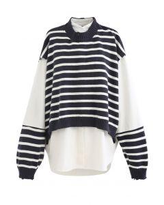 Fake Two-Piece Striped Hi-Lo Pullover in Black