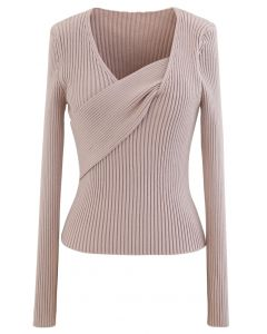 V-Neck Fitted Knit Top in Dusty Pink